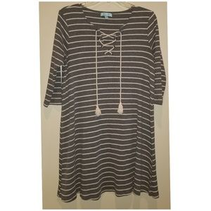 She + sky striped dress with rope detail size L